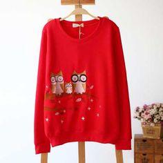 Animal Owl embroidered sweatshirts for women fleece pullover sweatshirt