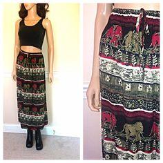 957273b848b7 APRIL FOOLS Sale / Vintage 90s elephant maxi skirt ethnic grunge rayon boho  gauzy rayon