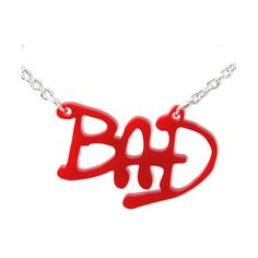 "Pay Tribute to the King of Pop, Michael Jackson, when you wear this unique ""BAD"" necklace made from sturdy Red Acrylic.Big enough to make a strong impact, this necklace comes with a Silver plated metal chain. Christmas Necklace, Christmas Jewelry, Michael Jackson Merchandise, Michael Jackson Bad, My Unique Style, Jackson Family, Name Necklace, Metal Chain, Jewelry Necklaces"