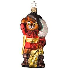 "Puss in Boots 107309- Inge-Glas of Germany *Introduced2009* Dashing Puss in Boots, this ornament measures approximately 5"".  This heirloom Christmas ornament is from the"