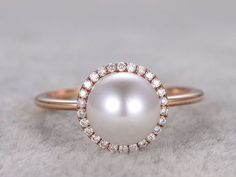 Akoya pearl ring in BBBGEM,see pearl engagement rings or bridal sets in 14/18k white gold,rose gold or yellow gold.