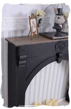 Nostalgie manteau de cheminée déco console la vintage en bois