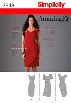 Simplicity sewing pattern 2648. Form-fitting dress. I know this one has lots of potential as a base.