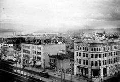 A 1893 Picture of Granville & Georgia face NorthEast. The old Hudson's Bay (same location) with a more rustic Port of Vancouver in the BackGround. Via PastTenseVancouver.tumblr.com (Tweeted)