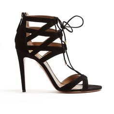 Aquazzura Beverly Hilsl Suede Cut Out Lace Up Shoe (4 180 ZAR) ❤ liked on Polyvore featuring shoes, sandals, heels, black heel sandals, strap sandals, lace up sandals, high heel sandals and black high heel sandals