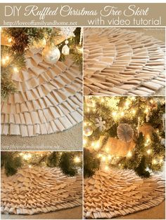 No Sew Ruffle Tree Skirt with Video Tutorial