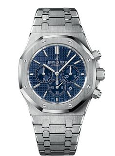 """Audemars Piguet Royal Oak Chronograph   Ref# 26320ST.OO.1220ST.03 Selfwinding Calibre 2385  Stainless steel case, glareproofed sapphire crystal and caseback, screw-locked crown  Blue dial with """"Grande Tapisserie"""" pattern, white gold applied hour-markers and Royal Oak hands with luminescent coating  Stainless steel bracelet with AP folding clasp  CASE WIDTH41.00 MM CASE THICKNESS10.80 MM WATER RESISTANCE50 M POWER RESERVE40 H FREQUENCY3,00 HZ NUMBER OF PARTS304"""