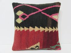 sitting pillow 18x18 kilim rug pillow boho chic fabric art pillow cover chevron pillow case rustic pillow sham shabby chic decorating 22197