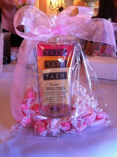 baby shower favors i did today. since it was a tea party theme, i did a tea and taffy favor.
