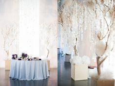 Hanging pearls! first the background for the ceremony, then useful at the reception!