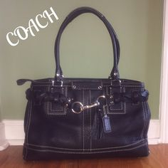 """Coach Pebbled Leather Hamptons Large Satchel Very Classy!!!  Great Condition!!!This is from the popular Hamptons collection. A beautiful braided leather trim with clasp and tassel also hang tag. Zip closure. Dual rolled shoulder straps w/9"""" drop. Metal protective feet in bottom. Interior has tab sateen fabric, free of marks and stains, zip pocket and 2 slip pockets. Measures 15""""X11""""x5"""". Priced to sell!!! Coach Bags Shoulder Bags"""