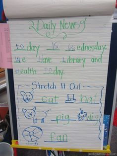 Growing Kinders: Daily News–Beginning of the Year - Colorful Dreams Kindergarten Nursery Kindergarten Readiness, Kindergarten Literacy, Morning Meeting Activities, Morning Meetings, Morning Message Kindergarten, Responsive Classroom, Calendar Time, Teaching Activities, Educational Activities