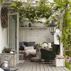 Very cozy corner on the terrace. Also ideal for the winter garden. While historical with Outdoor Areas, Outdoor Rooms, Outdoor Living, Outdoor Decor, Outdoor Patios, Outdoor Kitchens, Outdoor Furniture, Porch Garden, Home And Garden