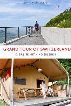 Die Grand Tour of Switzerland führt an die schönsten Sehenswürdigkeiten der Schweiz. Die Route ist eine prima Familienreise durch die Schweiz und bietet spezielle Unterkünfte, spannende Aktivitäten und prima Restaurants in wunderbarer Umgebung. Zermatt, Glamping, Switzerland Tour, Grand Tour, Restaurants, Tours, Outdoor Decor, Travel, Europe