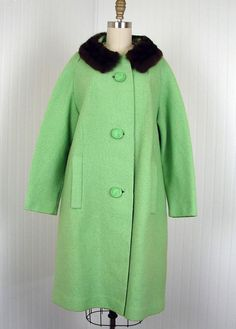 1960s Coat  Vintage 60s Designer Green Wool Fur by jumblelaya