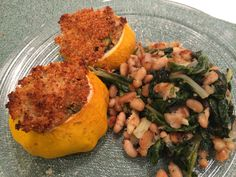 Stuffed summer squash and greens and beans Italian style