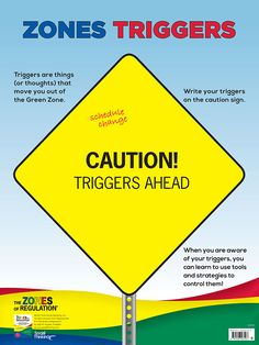 "Zones Triggers (dry erase) – Poster is a companion product to the self-regulation curriculum The Zones of Regulation®, by Leah Kuypers, and coordinates with Lesson 9 ""Caution! Triggers Ahead"" in the book. The poster is designed as a tool adults can use to help students gain awareness of their personal triggers that lead them to the Yellow or Red Zone."