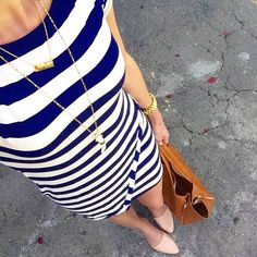 Need need this dress @stitchfix @Girlmeetsgold gets it right with nautical stripes & layering necklaces.