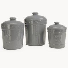 Signature Housewares 3 Piece Sorrento Ceramic Gray Canister Set #SignatureHousewares