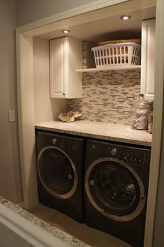 Modern Laundry Room with American olean – morello moonstone limestone tile flooring, stone tile flooring, Paint Small Laundry Rooms, Laundry Room Organization, Laundry Room Design, Organization Ideas, Design Room, Storage Ideas, Laundry Closet Makeover, Laundry Room Remodel, Small Laundry Closet