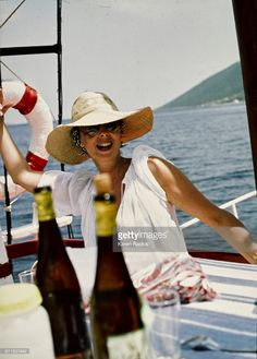 Mica Ertegun, photo by Karen Radkai, Vogue 1977 Mica Ertegun, Beautiful Interiors, Panama Hat, Vogue, Boat, Inspirational, People, Design, Women