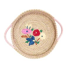 Rice DK Large Raffia Bread Basket with delicate Flower Embroidery and soft pink woven handles. Use for your summer dining table or keep on the side for storing bits and pieces Cute Embroidery, Floral Embroidery, Embroidery Designs, Welcome Door Signs, Toy Basket, Round Basket, Vide Poche, Embroidered Flowers, Beautiful Hands