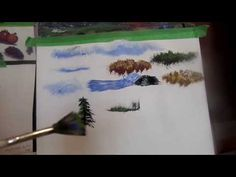 Acrylic Painting Tips and Tricks on using your brushes to make trees, clouds, water and splash - YouTube