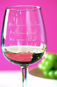 "The Calorie Counting Wineglass, including a ""Who Cares"" portion line, now that is kind of funny..."