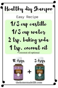 HEALTHY DIY SHAMPOO. If you want a simple and non-toxic homemade shampoo this is a great one! It is a total of 4 ingredients. I then add lavender and peppermint! I love it! This diy shampoo recipe works great and is super easy! Keep in mind if you don't have dry hair, you might want to leave out the coconut oil! http://www.thehomemadelife.com/simple-diy-shampoo-recipe-without-the-gunk/