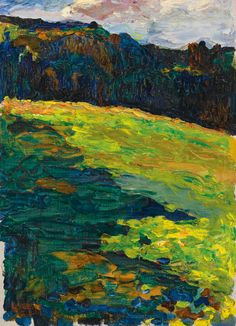 Wassily Kandinsky (Russian, 1866 - Kochel - Mountain meadow in front of the edge of the forest, 1902 Oil on canvas, 32 x cm via dead-molchun Kandinsky Art, Wassily Kandinsky Paintings, Abstract Landscape, Landscape Paintings, Abstract Art, Abstract Expressionism, Landscapes, Catalogue Raisonne, Elements Of Color