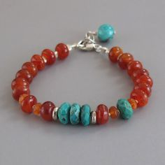 Fire Agate Turquoise Gemstone Sterling Silver Bead Bracelet.
