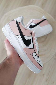 Nike Air Force 1 Cartoon - Baby Pink by sneakeaze Nike Air Force, Nike Shoes Air Force, Custom Painted Shoes, Custom Shoes, Custom Af1, Souliers Nike, Pink And Black Nikes, Sneaker Store, Jordan Shoes Girls