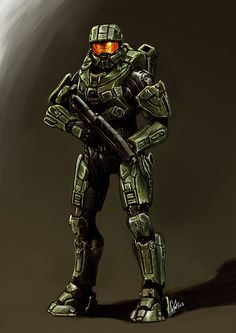 armoured hero master chief by mrrumbles fan art digital art