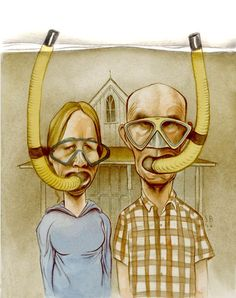 Steve Brodner is an artist, illustrator and filmmaker American Gothic Painting, American Gothic House, Grant Wood American Gothic, American Gothic Parody, Deviant Art, Iowa, Snorkeling, Robert Wood, Collections Of Objects