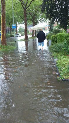 Flooded streets in Winschoten, the Netherlands. It rains a lot in Holland! This picture was taken mid summer on August 19, 2013.