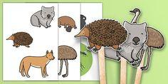 The Stew Stick Puppets Animal Activities, Animal Crafts, Book Activities, Preschool Activities, Teaching Resources, Primary Resources, Wombat Stew, Australia Animals, Craft Stick Crafts