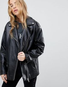 Miss Selfridge Oversized Leather Look Biker Jacket
