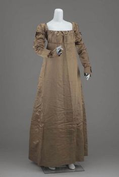 Dress, American, 1815–20. Silk satin and linen lining with silk tape  - in the Museum of Fine Arts Boston.