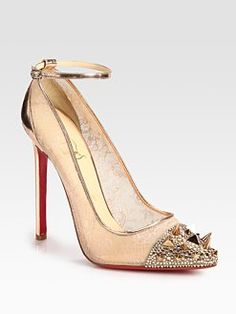 Christian Louboutin    Picks & Co Crystal Stud-Embellished Lace and Metallic Leather Pumps  $1495.00
