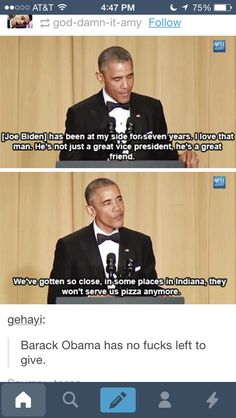I don't care what you think about Obama as a president, there is no refuting he is a frickin cool human being.