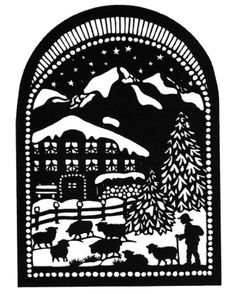 Esther Gerber — Shepherd in Winter Christmas Wood, Christmas Crafts, Paper Cutting, Glass Block Crafts, Paper Art, Paper Crafts, German Folk, Christmas Landscape, Wood Burning Patterns