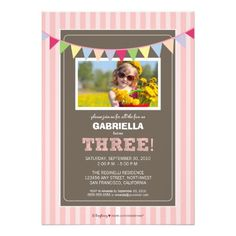 Chic Turning 3 Birthday Party Invitation (pink)