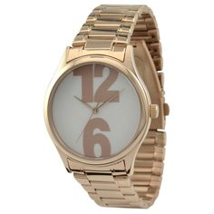 Rose Gold Metal Band Number Watch