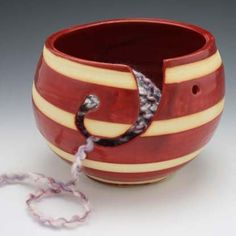 Red Yarn Bowl - This looks like a very useful tool! (Pretty, too!)