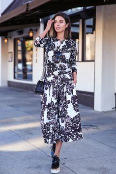retro floral dress with lug sole footwear