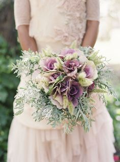 Bridal bouquet with purple rosette cabbage, dusty miller, bunny tail grass Bride Bouquets, Flower Bouquet Wedding, Floral Bouquets, Bridesmaid Bouquet, Bridal Flowers, Purple Flowers, Wild Flowers, Dusty Miller, Purple Wedding