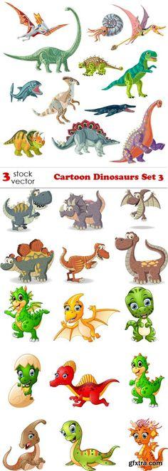Vectors - Cartoon Dinosaurs Set