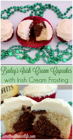 Irish Cream Cupcakes with Irish Cream Frosting - because who doesn't love boozy desserts for St. Patrick's Day?!