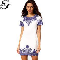 Summer Vintage Ladies Short Sleeve Round Neck Blue And White Retro Printed Pattern Shift Mini Dress