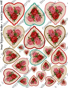 Vintage Victorian Valentine Rose Hearts Focals Digital Collage sheet that I designed.  Thank you for looking! Hugs Heather